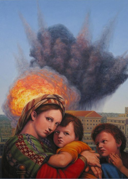Madonna And Child Greeting Card featuring the painting Raphael Moderne by James W Johnson