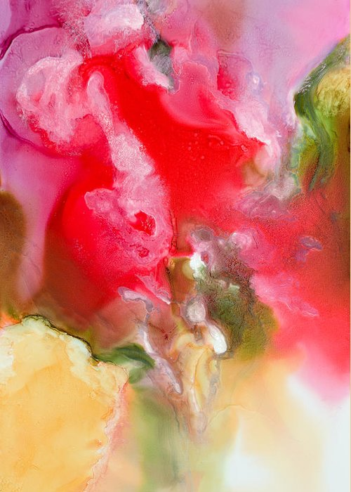 Abstract Greeting Card featuring the painting Rapture - B - by Sandy Sandy