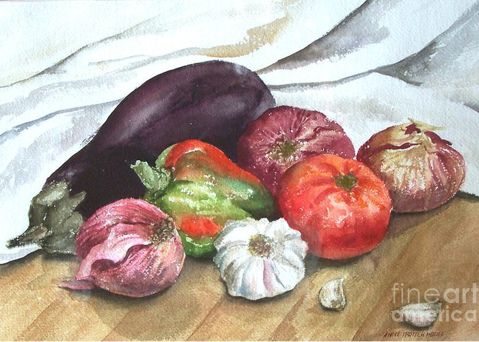 Still Life Greeting Card featuring the print Ratatouille by Anne Trotter Hodge