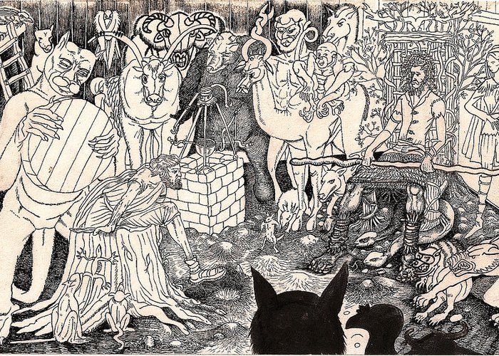 Diplomat Greeting Card featuring the drawing Rathbone Meets The Forest Lord by Al Goldfarb