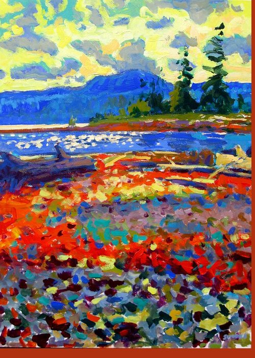 Beach Paintings Greeting Card featuring the painting Rathtrevor Low Tide by Brian Simons