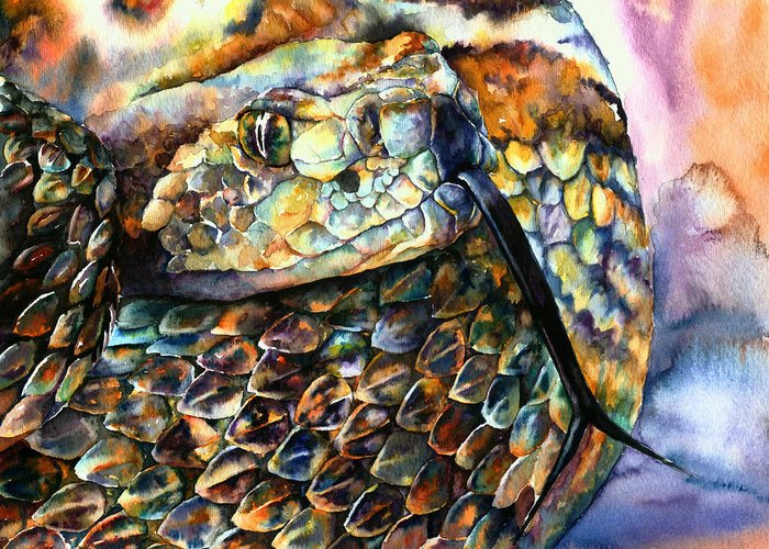 Southwest Greeting Card featuring the painting Rattle Snake by Christy Freeman
