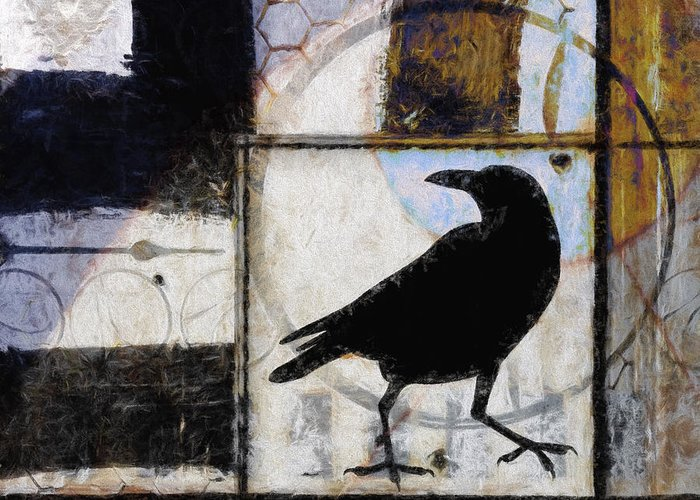 Raven Greeting Card featuring the photograph Raven Ahead Of Time by Carol Leigh
