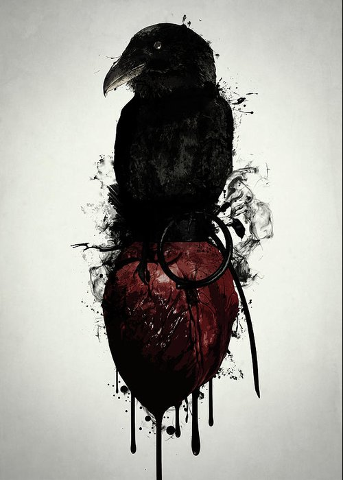 Raven Greeting Card featuring the digital art Raven and Heart Grenade by Nicklas Gustafsson