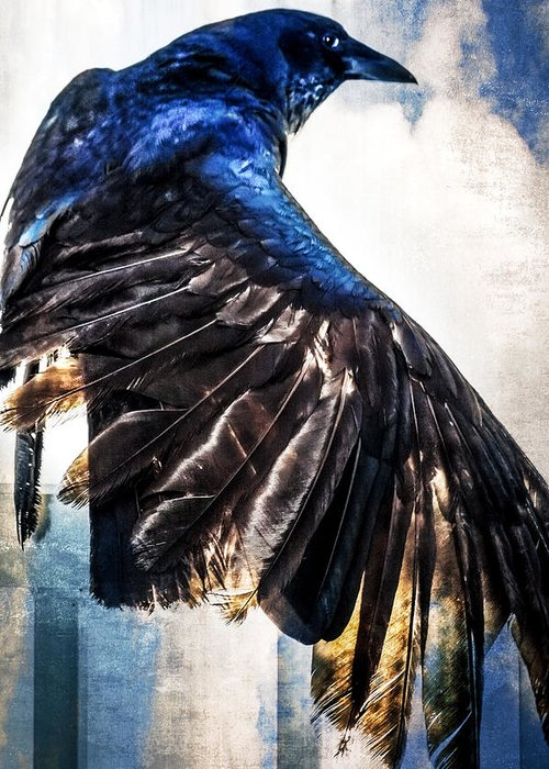 Grackle Greeting Card featuring the photograph Raven Attitude by Carolyn Marshall