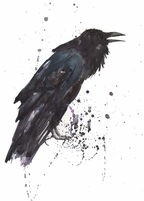 Raven Raven Art Greeting Card featuring the painting Raven Black Bird Gothic Art by Alison Fennell