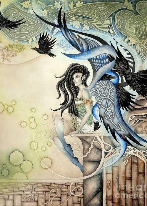 Georgia Artist Ora Moon Greeting Card featuring the painting Raven Faery by Ora Moon