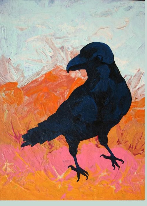 Raven Greeting Card featuring the painting Raven I by Dodd Holsapple