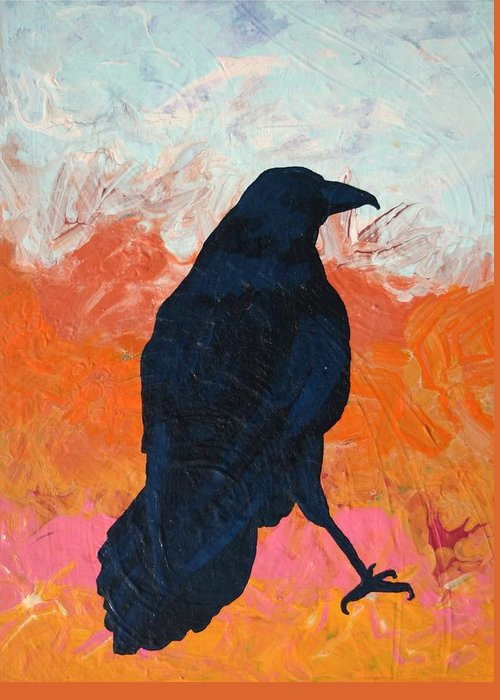Raven Greeting Card featuring the painting Raven II by Dodd Holsapple