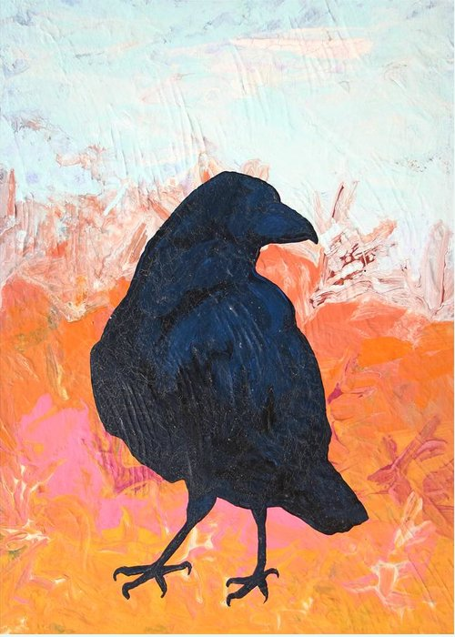 Raven Greeting Card featuring the painting Raven IIi by Dodd Holsapple