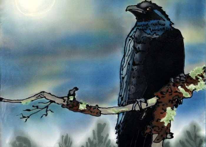 Silk Greeting Card featuring the painting Raven Moon by Linda Marcille