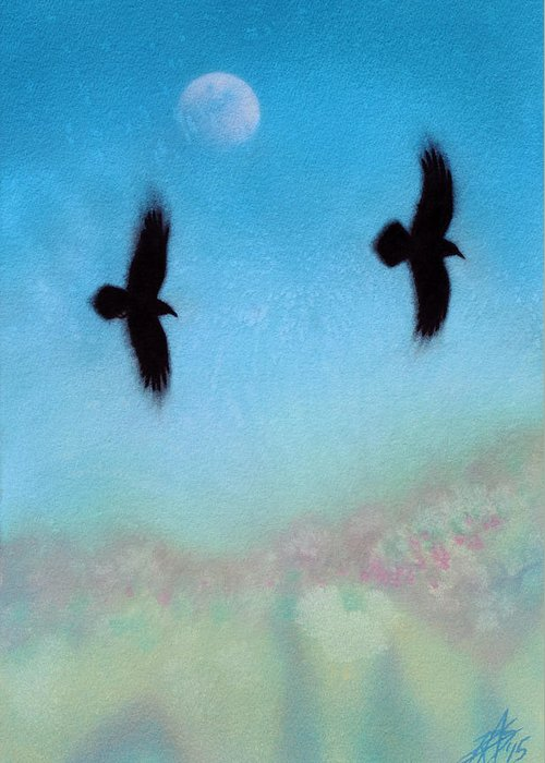 Raven Greeting Card featuring the painting Raven Pair with Diurnal Moon by Robin Street-Morris