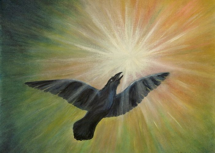 Raven Greeting Card featuring the painting Raven Steals The Light by Bernadette Wulf
