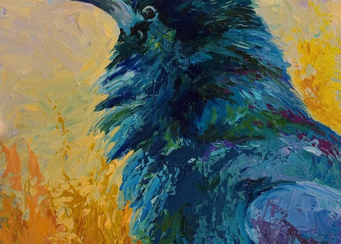 Crows Greeting Card featuring the painting Raven Study by Marion Rose