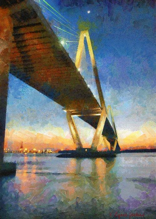Charleston Greeting Card featuring the painting Ravenel Bridge by Lynne Jenkins