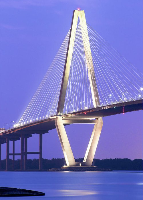 Arch Greeting Card featuring the photograph Ravenel Lights by Drew Castelhano