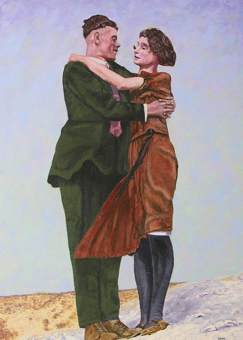 Double Portrait Greeting Card featuring the painting Ray And Isabel by Stan Hamilton