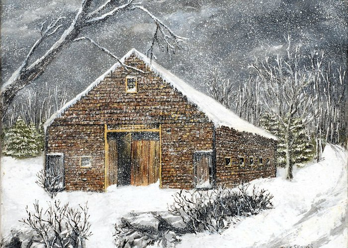 Barns Greeting Card featuring the painting Ray Emerson's Old Barn by Jack Skinner