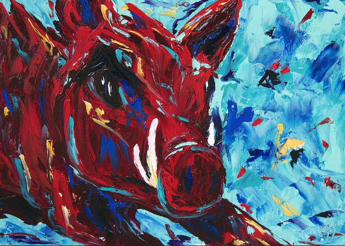 Razorback Greeting Card featuring the painting Razorback by Beth Lenderman