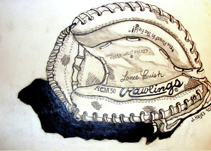 Catchers Mitt Greeting Card featuring the drawing Rcm 50 Lance Parrish by Jame Hayes
