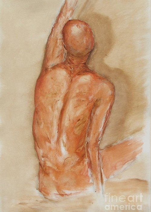 Figure Greeting Card featuring the painting Reach Higher by Miroslaw Chelchowski
