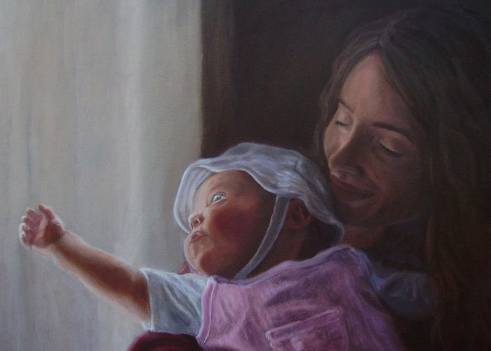 People Greeting Card featuring the painting Reaching for the Light by Tahirih Goffic