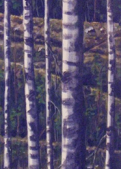 Birch Greeting Card featuring the painting Reaching For The Sky II by Maren Jeskanen
