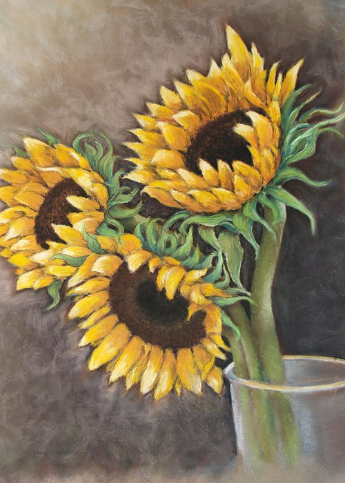 Still Life Greeting Card featuring the painting Reaching Sunflowers by Susan Jenkins