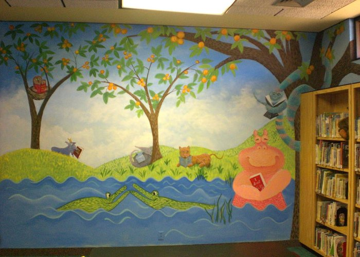 Greeting Card featuring the painting Reading Animals In The Kids Room At The Latt Maxcy Memorial Library by Scott K Wimer