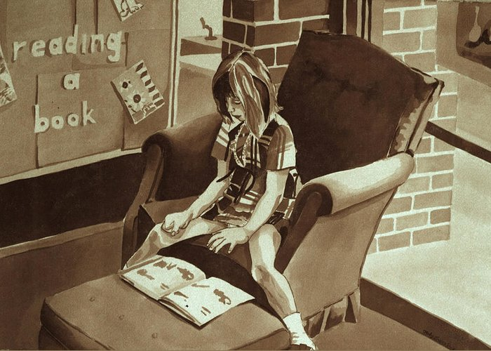 Girl Reading Book Greeting Card featuring the painting Reading Corner by Judy Swerlick