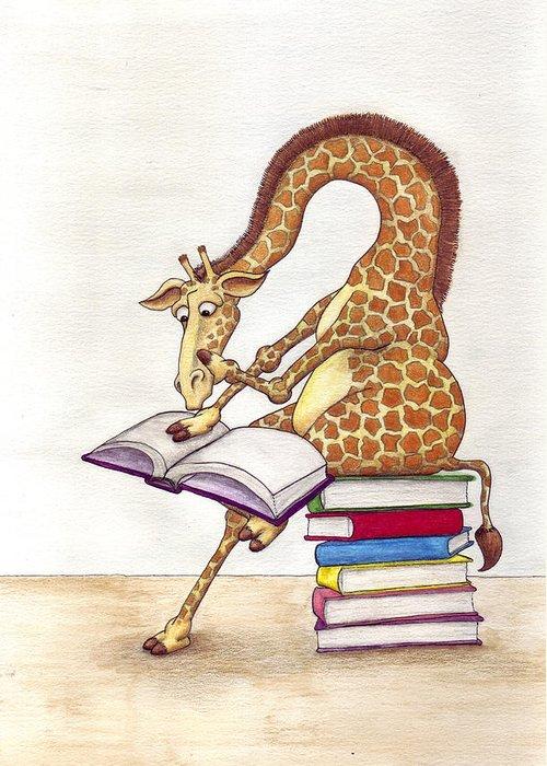 Giraffe Greeting Card featuring the mixed media Reading Giraffe by Julia Collard