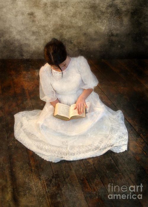 Girl Greeting Card featuring the photograph Reading by Jill Battaglia