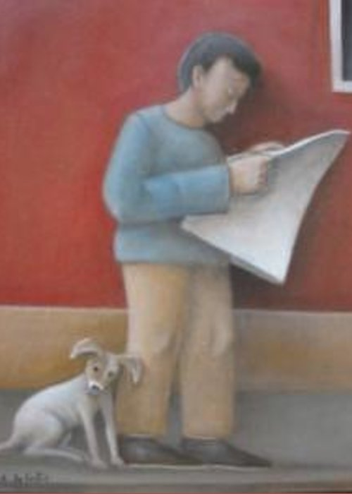 Greeting Card featuring the painting Reading Morning Paper by Alfredo DeCurtis