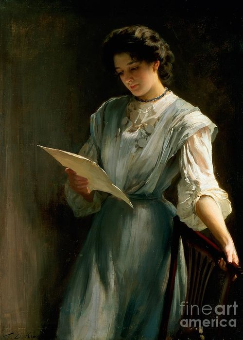 Woman; Love; Portrait; Edwardian Greeting Card featuring the painting Reading The Letter by Thomas Benjamin Kennington