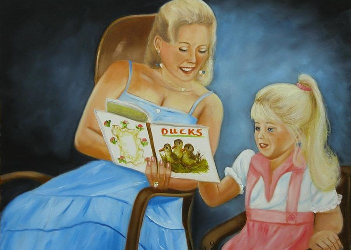 Portraits Greeting Card featuring the painting Reading With Gramma by Joni McPherson