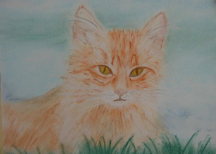 Kitty Greeting Card featuring the pastel Ready For The Pounce by Shiana Canatella