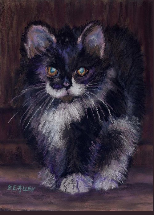 Kitten Greeting Card featuring the painting Ready For Trouble by Sharon E Allen