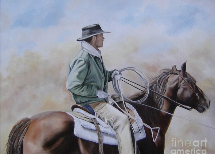 Ranch Greeting Card featuring the painting Ready To Rope by Mary Rogers
