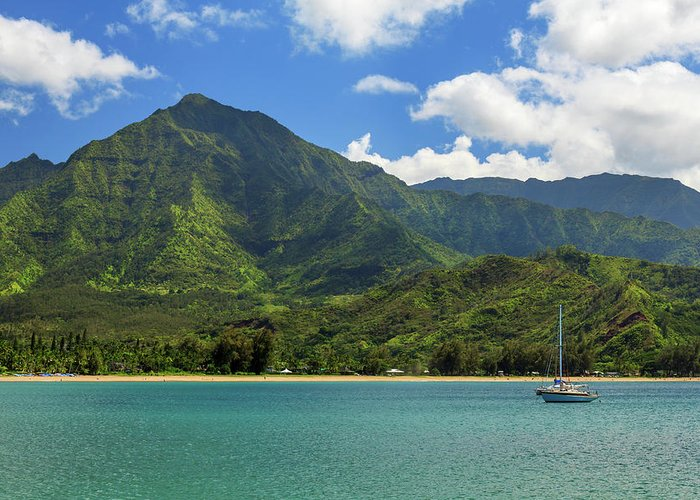 Sailboat Greeting Card featuring the photograph Ready To Sail In Hanalei Bay by James Eddy