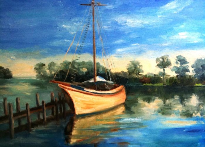 Sail Boat Greeting Card featuring the painting Ready To Sail by Sharon Franke