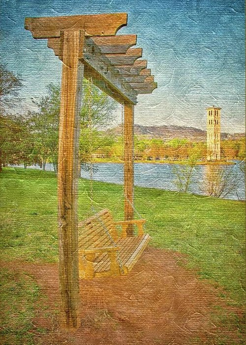 Swing Greeting Card featuring the photograph Ready to Swing at Furman, Greenville, South Carolina by Zayne Diamond Photographic