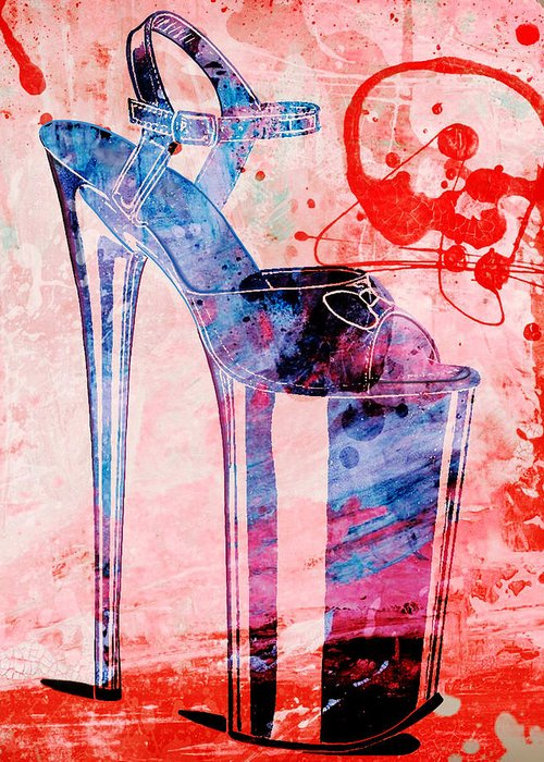 Shoe Greeting Card featuring the painting Big Bad Stiletto by Little Bunny Sunshine