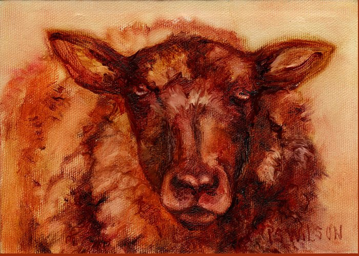 Sheep Greeting Card featuring the painting Really Wooly by Peggy Wilson