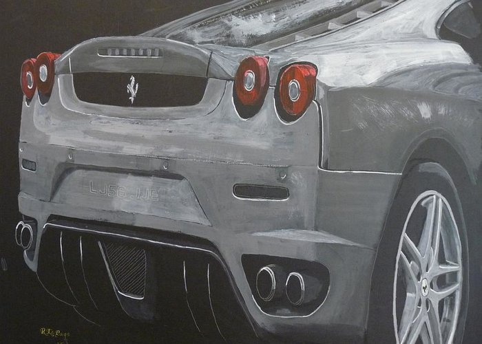 Ferrari Greeting Card featuring the painting Rear Ferrari F430 by Richard Le Page