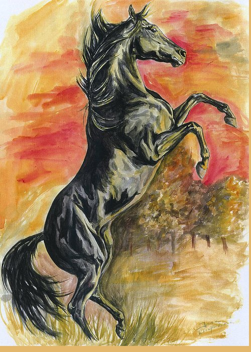 Horse Greeting Card featuring the painting Rearing by Jana Goode