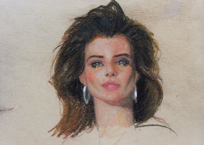 Woman Greeting Card featuring the painting Rebecca by Greg Clibon