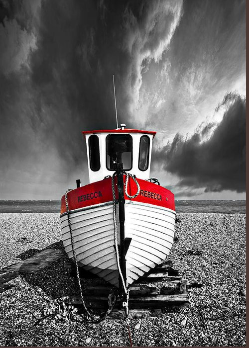 Boat Greeting Card featuring the photograph Rebecca Wearing Just Red by Meirion Matthias