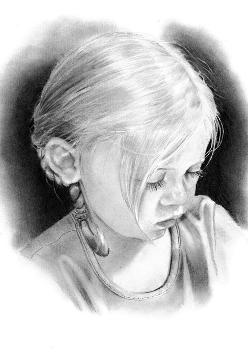 Portrait Greeting Card featuring the drawing Rebecca With Braids by Joyce Geleynse