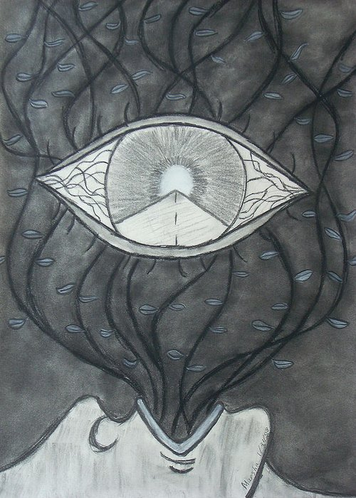 Eyes Greeting Card featuring the drawing Rebirth by Marsha Ferguson