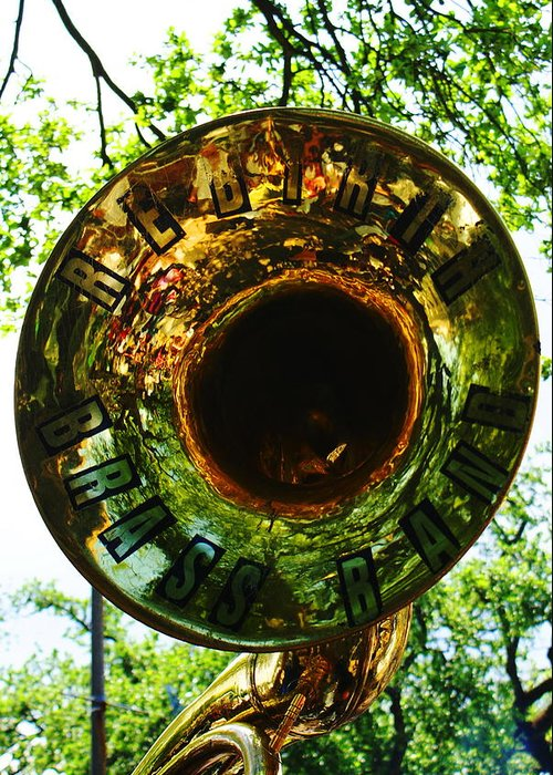 Brass Band Greeting Card featuring the photograph Rebirth Solo by David Fields